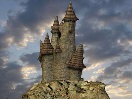 3D Render of an Medieval Toon Castle