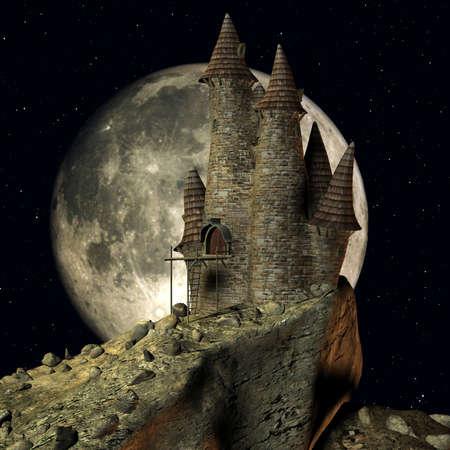 castello medievale: Render 3D di un castello medioevale di toon  Archivio Fotografico