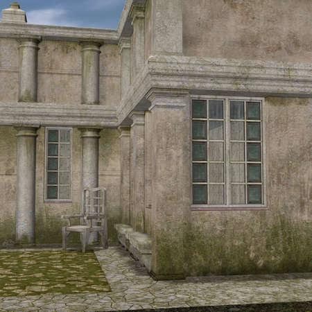 flagstone: 3D Render of an Manor House Stock Photo