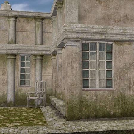garden path: 3D Render of an Manor House Stock Photo