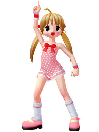 anime young: 3D Render of an Anime Toon Girl Stock Photo