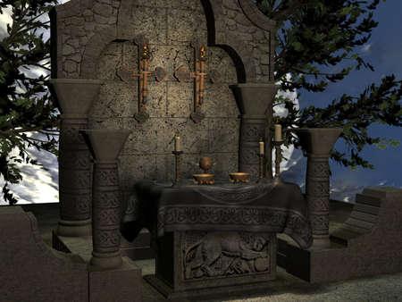 asylum: 3D Render of an Ancient Asylum Stock Photo