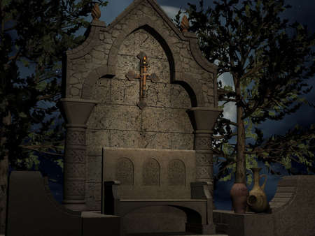 flagstone: 3D Render of an Ancient Asylum Stock Photo
