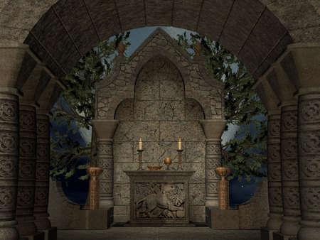 3D Render of an Ancient Asylum Stock Photo - 3118154