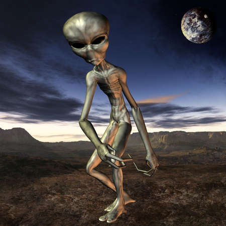 3D Render of an Alien with Background