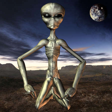 startrek: 3D Render of an Alien with Background
