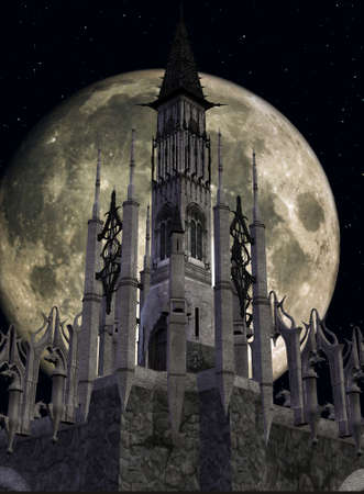 archaic: 3D Render of an Fantasy Castle