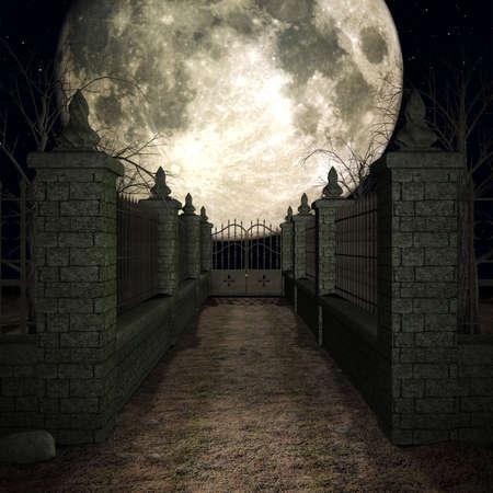 bury: 3D Render of an Mystic Cemetery