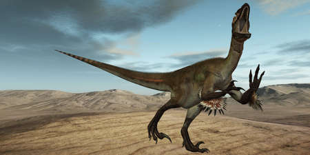extinction: 3D Render of an Utahraptor ostrommayorum