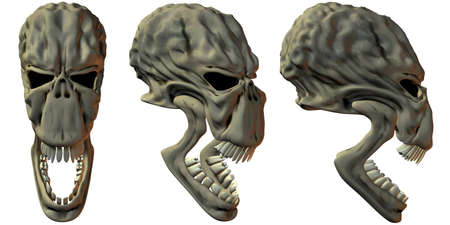 3D Render of Fantasy Skulls photo