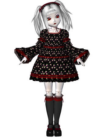 collectible: 3D Render of an Gothic Doll Stock Photo