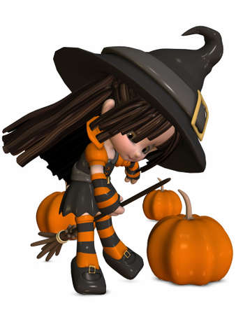 3D Render of an Little Witch