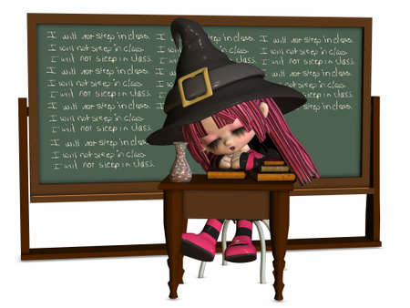 3D Render of an Little Witch at school