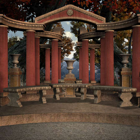 casket: 3D Render of an Ancient Place Stock Photo