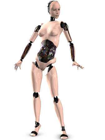 to navigate: 3D Render of an Female Robot Stock Photo
