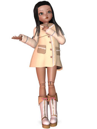 collectible: 3D Render of an Toon Doll Stock Photo