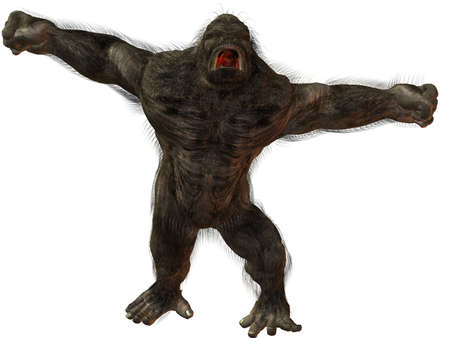 king kong: 3D Render of an Silverback Gorilla Stock Photo