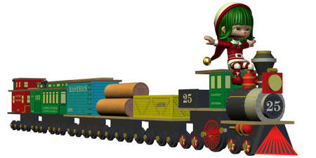 Cute Christmas Elf with Toy Train photo