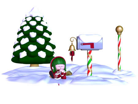 faerie: Cute Christmas Elf Stock Photo