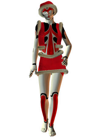 3 D Render of an female Cyborg Santa photo