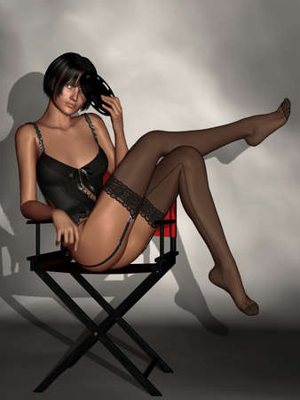 sexy stockings: Beautiful Women In Black Lingerie Stock Photo