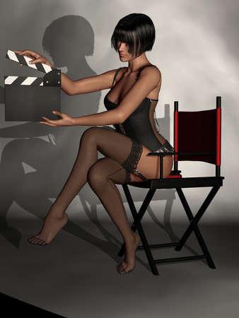 Beautiful Women In Black Lingerie Stock Photo