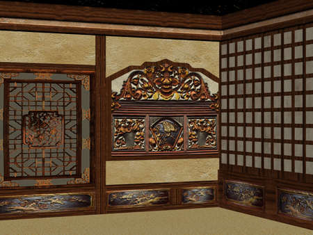 laque: 3D Render of an Chinese Room Stock Photo