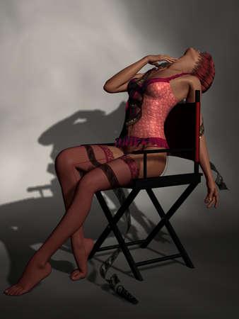 filmroll: Beautiful Women In Red Lingerie Stock Photo
