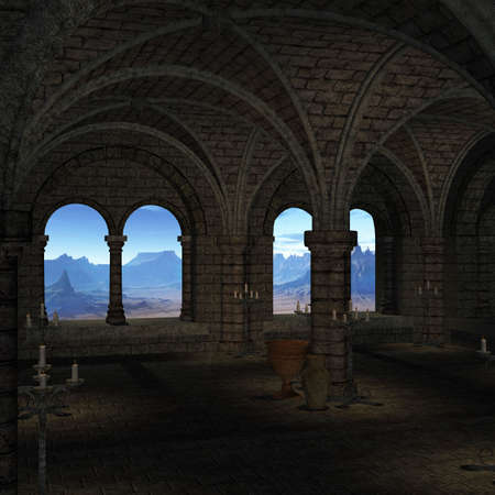 hall: 3 D Render of an Medieval Place