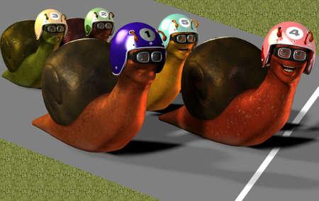 slink: Toon Racing Snails Stock Photo