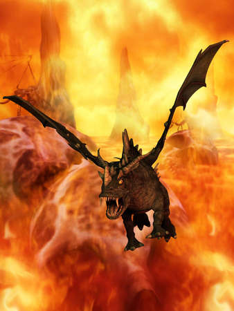 monstrous: Fantasy Dragon Stock Photo