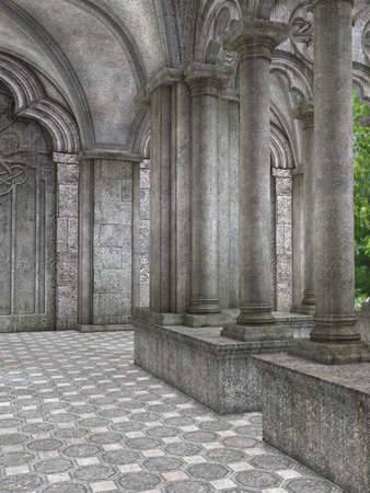abbey: 3 D Render of an Fantasy Cloister
