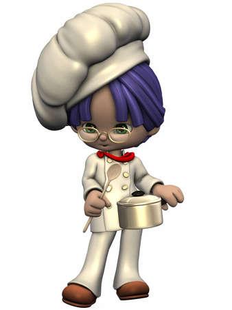Little Cook - Toon figuur Stockfoto