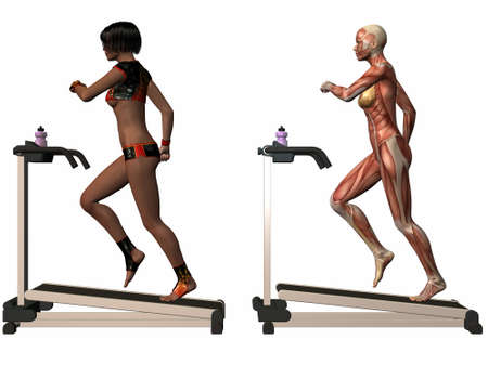 Female Human Body - Treadmill Stock Photo - 3973350