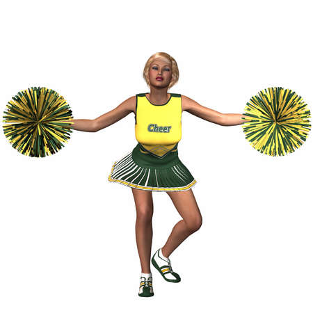 cheer leading: Cheerleader With Pompoms