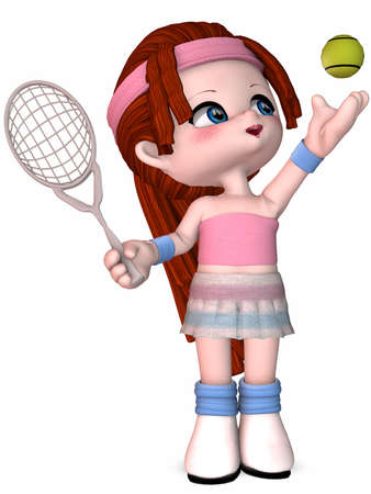 girl: Little Tennis Player - Toon Figure