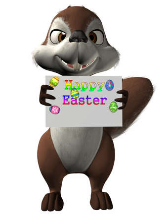 easter sign: 3D Figure With Happy Easter Sign