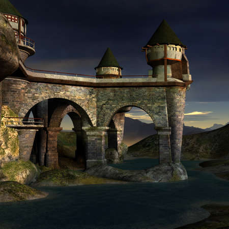 stonework: Fantasy Castle Stock Photo