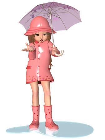 manga style: Toon Girl - Rainy Day