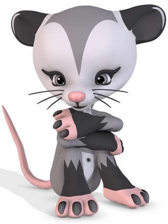 opossum: Cute Opossum - Toon Figure Stock Photo