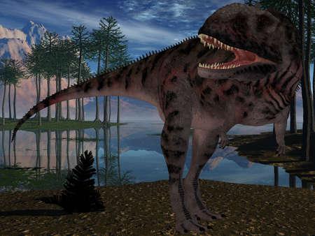 chordata: Majungasaurus Crenatissimus - 3D Dinosaur Stock Photo