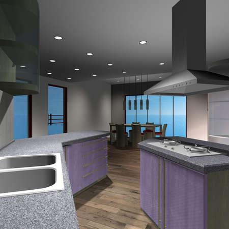 Modern House-Kitchen Stock Photo
