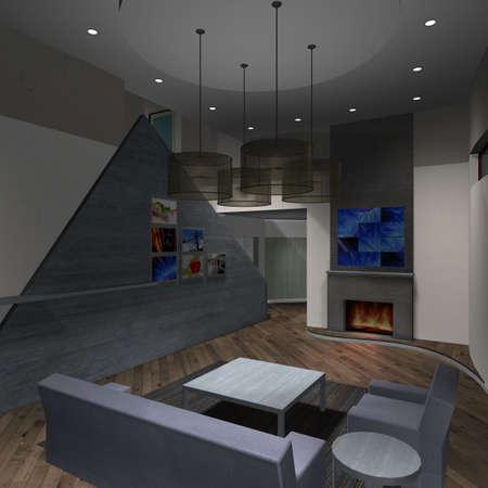 upscale: Modern House-Livingroom