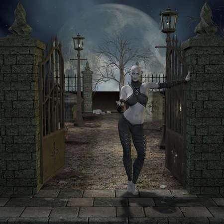 scary hand: Vampire Hunter - 3 D Render of an Halloween Scene