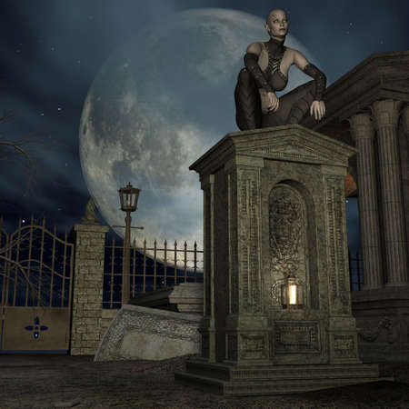 Vampire Hunter - 3 D Render of an Halloween Scene