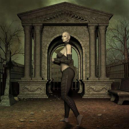 3d halloween: Vampire Hunter - 3 D Render of an Halloween Scene