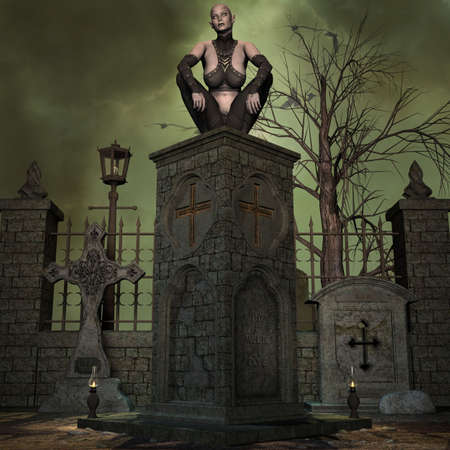 3d vampire: Vampire Hunter - 3 D Render of an Halloween Scene