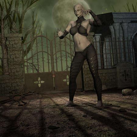 Vampire Hunter - 3 D Render of an Halloween Scene photo