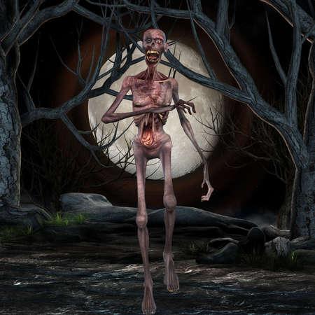 3d scary: Zombie - Halloween Scene Stock Photo