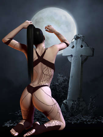 3d vampire: Halloween Scene Stock Photo